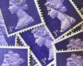 Deep Purple 50 Vintage Great Britain Postage Stamps Queen Elizabeth UK British Queen Mum England GB Scrapbooking 1960s 3d Machins Philately
