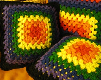 "Proud Rainbow Crochet Granny Square Pillows 14"" x 14"" Handmade Cushions Home Decor Furnishings Cottage Chic Equality Gay Pride Gay Rights"