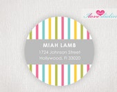 ON SALE - Personalized Colorful stripes Return Address Labels