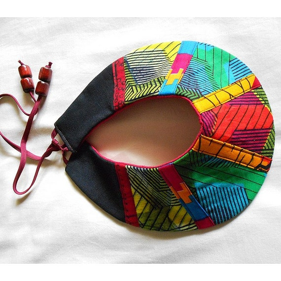 One of a Kind African Patchwork Collar,  Tribal Bib necklace, Handmade fabric neckwear, statement piece