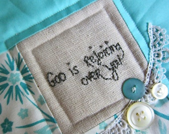 Rejoicing over you Inspirational Embroidered Art Quilt - Messages - FREE shipping