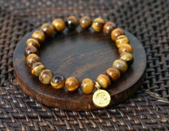 Tiger's Eye and Gold Om Energy Bracelet