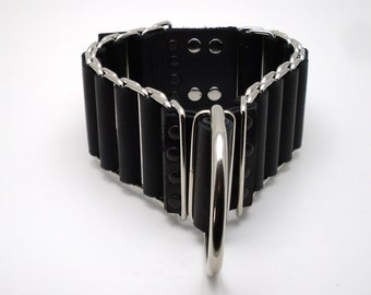"""Wide 2"""" Black and Silver woven chain slave collar - Free US Shipping"""