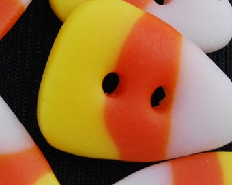 """12 Candy Corn 1/2"""" Decorative Polymer Clay Buttons"""