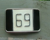 69 - Vintage License Plate Belt Buckle