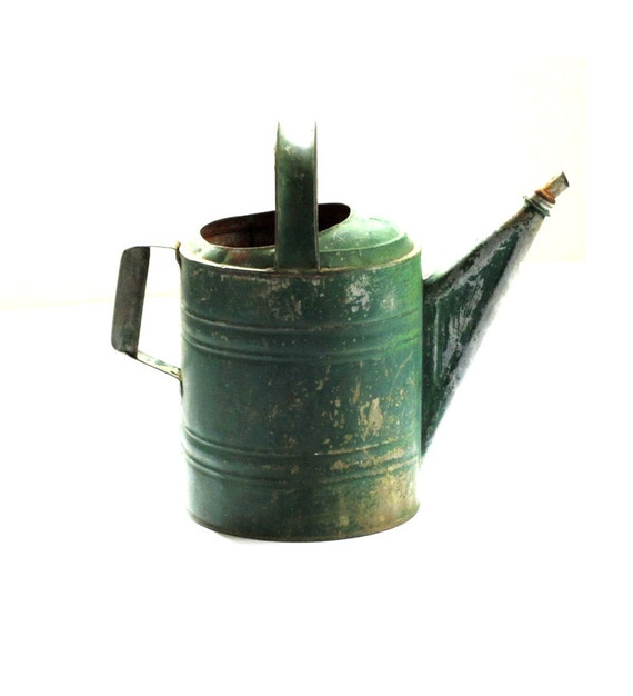 Large Vintage Wheeling Galvanized Green Watering Can No. 10