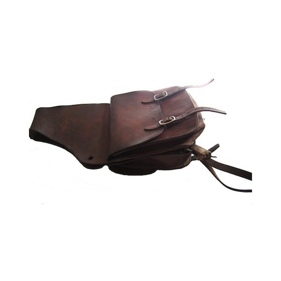 Vintage Top Grain Leather Saddle Bags with Double Buckle Adjustments