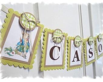 PETER RABBIT Nursery Banner - 8-panel Child Name Banner - KIT-Style option - Beatrix Potter Nursery / Shower Theme