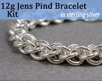 THICK 12g Jens Pind Bracelet Chainmaille Kit in Sterling Silver