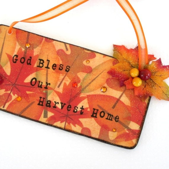 Fall Sign Harvest Plaque Decoupaged Fall Decor Autumn Decor Thanksgiving Decoration Fall Decor Autumn Leaves Orange Yellow Fall Colors