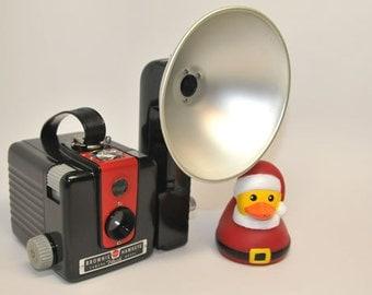 KODAK Camera and Flash, with NEW Red Kodak Brownie Hawkeye Flash
