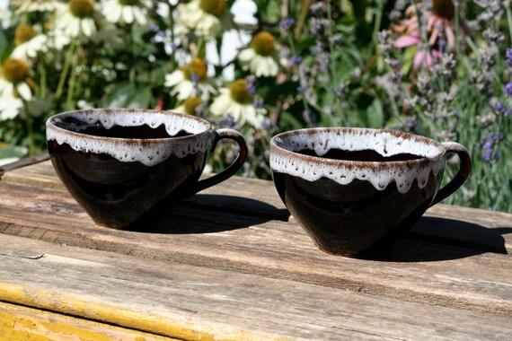 SALE - Pair of Nasco Del Coronado Hickory Drip Glaze Teacups