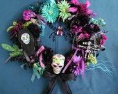 Day of the Dead Halloween Sugar Skull Dia de los Muertos Wreath MADE To Order