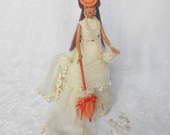 Victorian Doll,Cream/Orange Fashion Doll,Seashell Handbag,Victorian Parasal