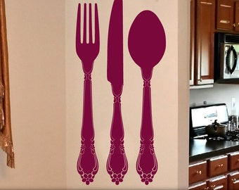 Kitchen Wall Decor Large 48 inch Personalized Fork Knife Spoon Wall Decor Custom Initial Vinyl Decal