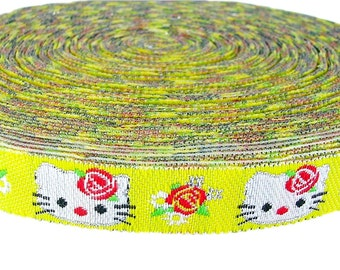 Glitter Kitty Jacquard Embroidery Ribbon Girl Appliques 4 Yards