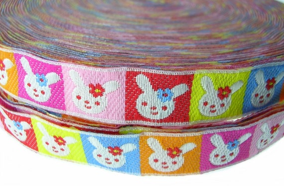 Rabbit Colorful Jacquard Ribbon Trim Apparel Scrapbooking 4 Yards