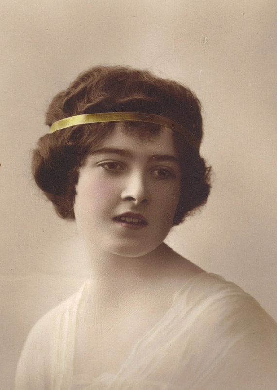 Lovely Young Woman in Gold Headband Early 1900s Image