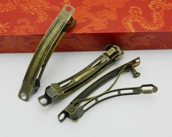50pcs antique bronze Flat Top Barrette clips Hair Clips french clip 58x7mm