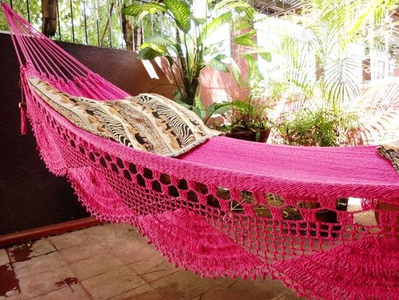 Fuchsia pink hammock, Double Hammock hand-woven Natural Cotton Simple Fringe