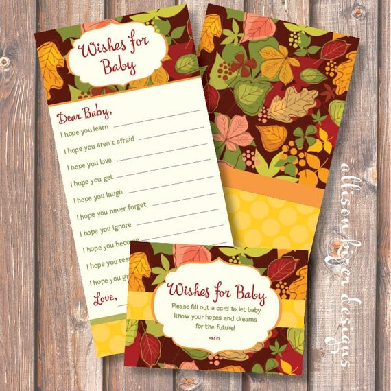 Fun Autumn Medley Printable Wishes for Baby Game - INSTANT DOWNLOAD