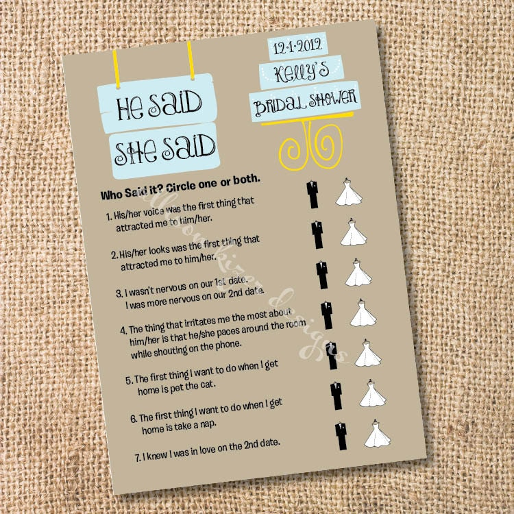 Modern cake printable wedding engagement shower game he for He said she said bridal shower game template