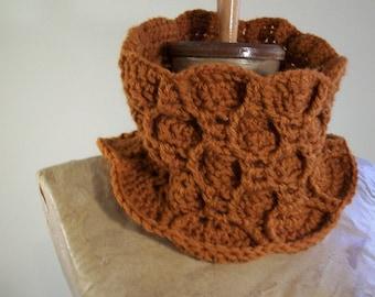 pumpkin cowl- textured crochet neckwarmer