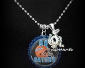 FLORIDA GATORS College FOOTBALL Custom Bottle Cap Necklace Any Size Chain up to 22""