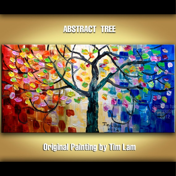 Original large impasto abstract texture acrylic painting, whimsical Surreal Blossom Tree Art  modern home decor wall art by Tim Lam 48x24