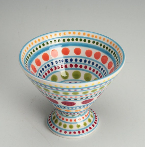 Stripes and Dots Cone Bowl Ice Cream Parfait Cup Hand Painted Dinnerware Dish