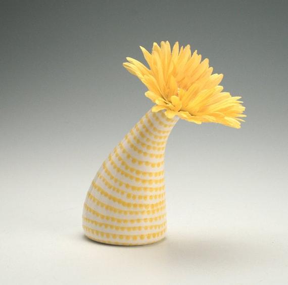 Yellow Spiral Vertigo See Ya Later Tilt Vase Hand Painted Flower Holder