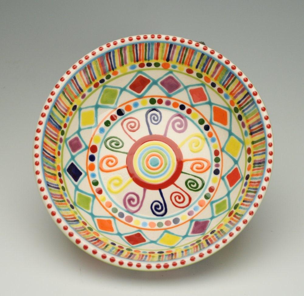 bohemian mandala bowl colorful painted dinnerware
