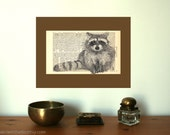 Racoon Art Print on Antique 1896 Dictionary Book Page