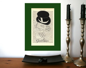 Victorian Gentleman Art Print on Antique 1896 Dictionary Book Page