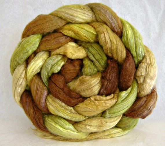 wool roving, merino silk 50 / 50 , combed top: spinning fiber, hand painted roving
