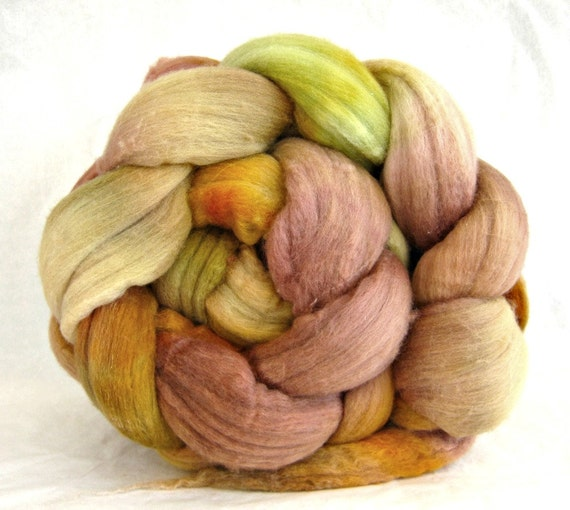 15.5 micron hand painted wool roving, merino, combed top: spinning fiber, roving
