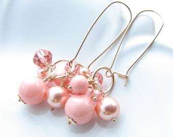 Grapefruit Pink Gold Cha-Cha Earrings Dangle Drop Earrings Peach Pink Glass Beaded Under 25 Kidney Ear Wires Fringe