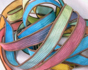 Hand Dyed Silk Ribbon - Crinkle Silk Jewelry Bracelet Fairy Ribbon - Quintessence - Vacation