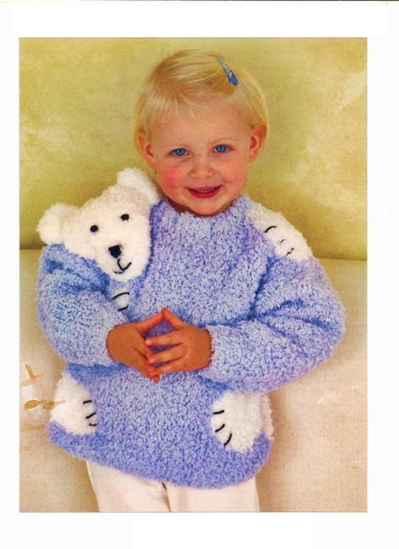 Knitting Pattern Bear Jumper : POLAR BEAR Motif Childs Sweater Vintage by patternsofyesteryear