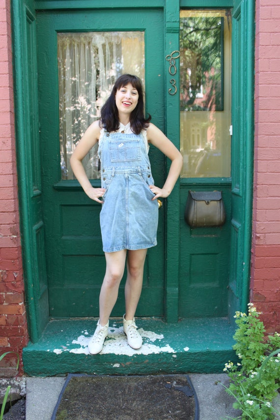 Overalls Skirt 1980s Vintage 80s GUESS Denim Jumper Dress M L