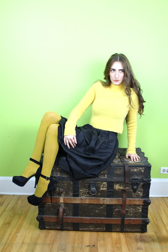Sweater Cropped 1980s 80s Midriff Tight Mohair Yellow Extra Long Sleeves Italy S