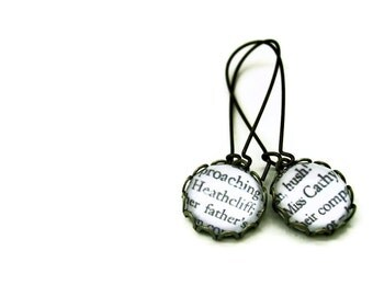 Wuthering Heights Earrings - CATHY & HEATHCLIFF Ed 3 - Bronte - ready to ship Literary Book Gift Etsy UK