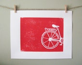 Handcarved block print of Bike in Red