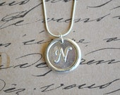 Wax Seal Pendant Necklace - Letter N - Silver