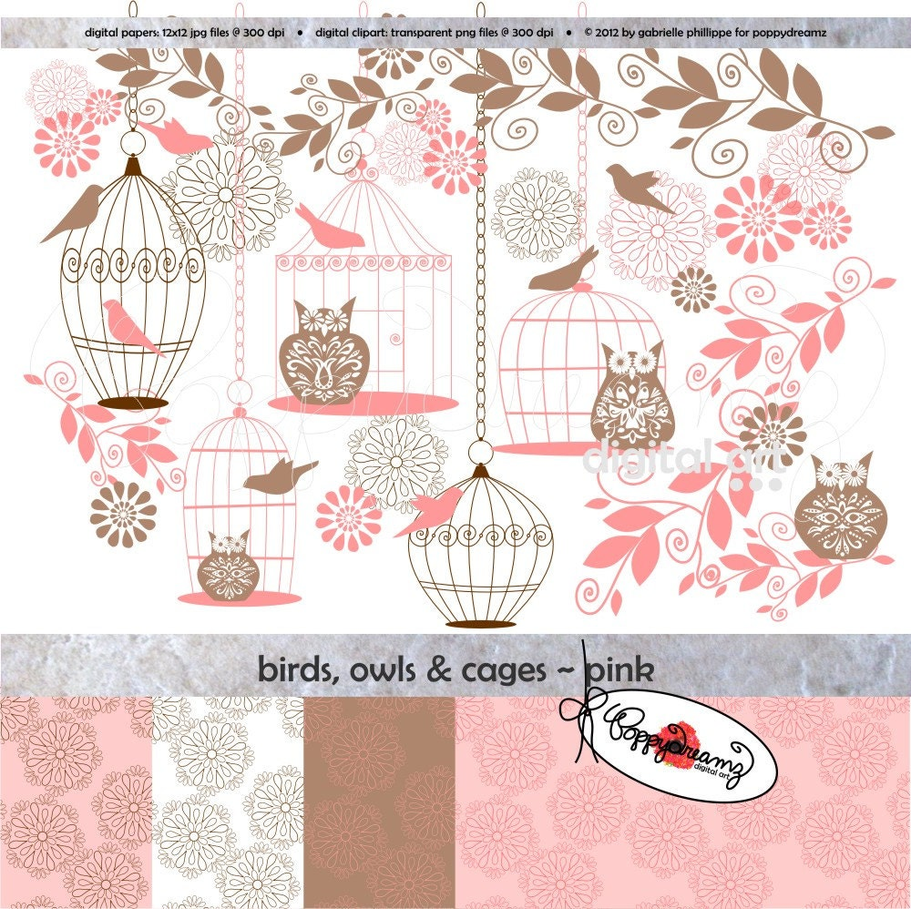 Scrapbook paper baby - Birds Owls Cages Pink Paper And Elements Set Digital Scrapbook Paper Pack 300 Dpi Wedding Baby Shower Floral Brown Pink