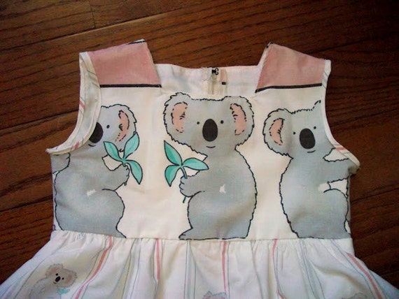 Koala bear little girl toddler dress repurposed bed sheet - cute party dress