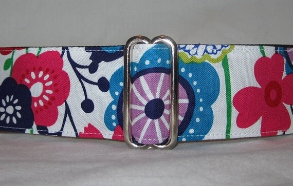 Abstract Summer Flowers Martingale Dog Collar -1.5 Inch - red purple blue magenta lime colorful fun