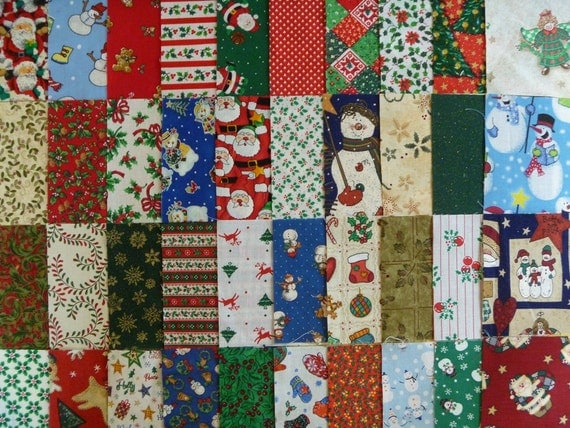 40 Assorted 4 Inch Christmas Cotton Fabric Quilting Squares-Set 1