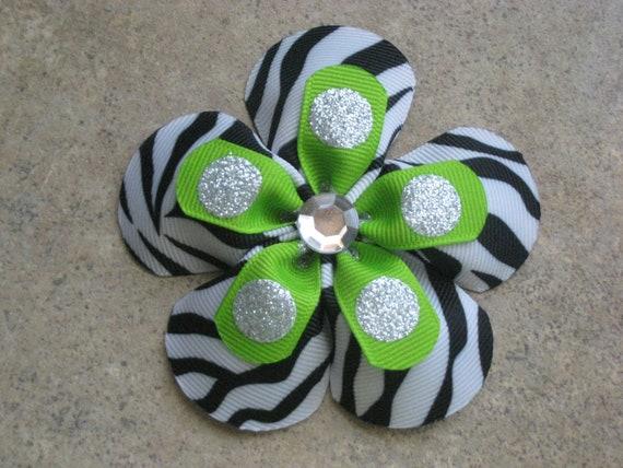 Zebra & Lime Green Sparkle dot double ribbon flower bow
