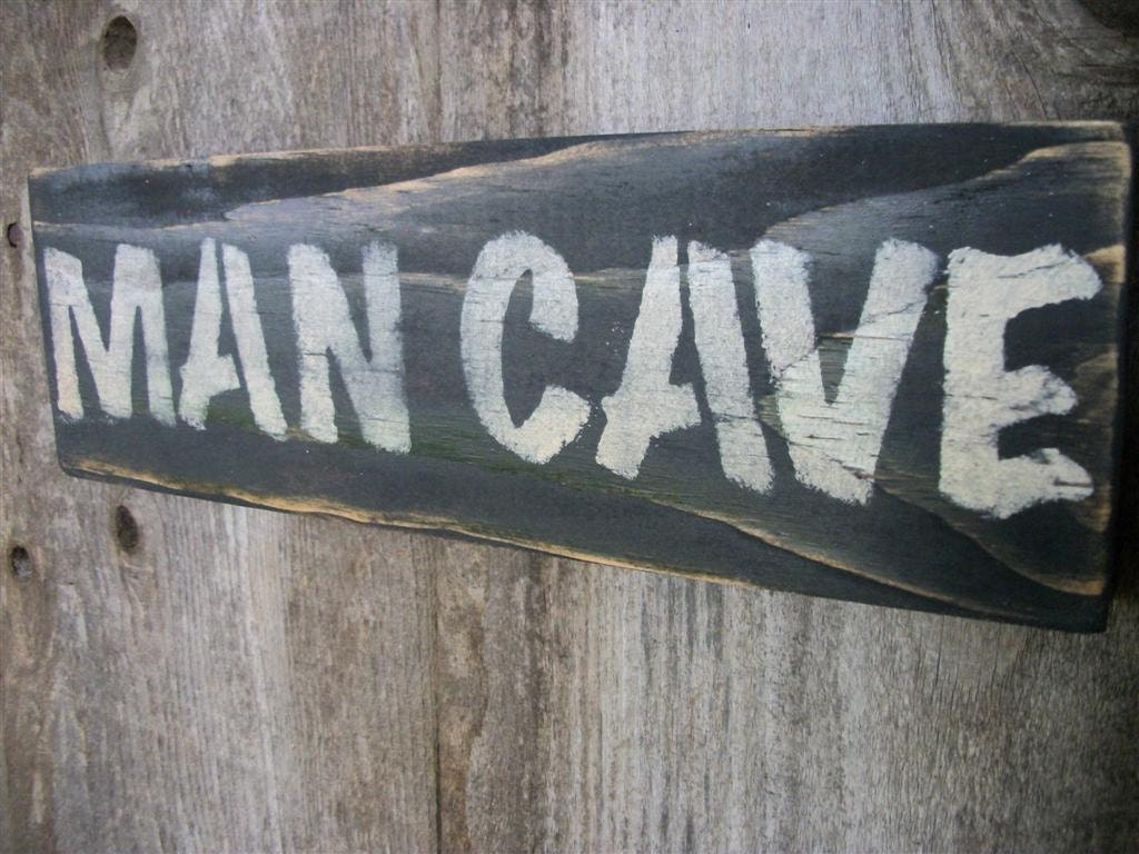 Rustic Man Cave Sign : Man cave sign black distressed rustic primitive wood large